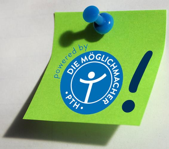 Info Box, grüner Notizzettel mit blauem Aufdruck